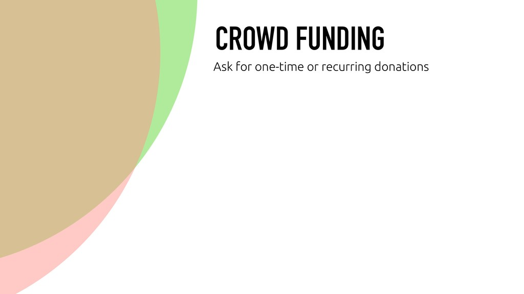 CROWD FUNDING Ask for one-time or recurring don...