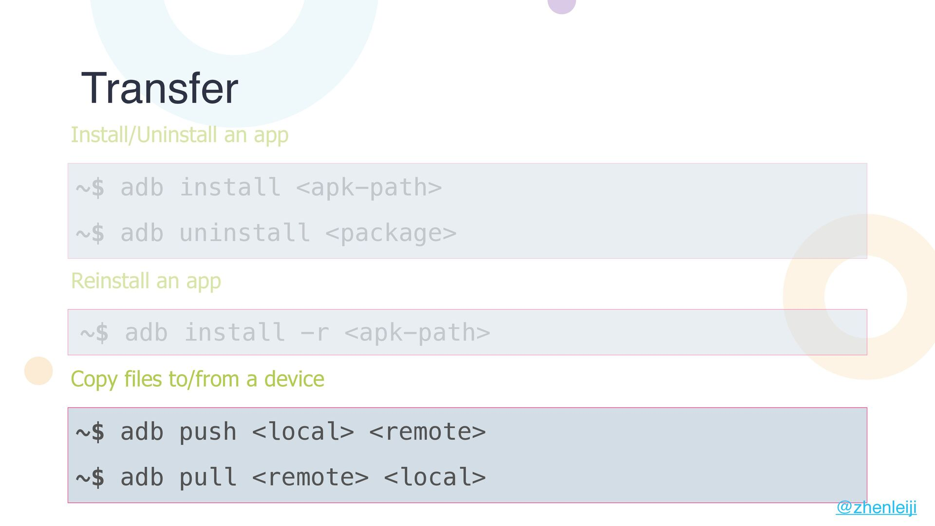 Transfer ~$ adb install <apk-path> Install/Unin...