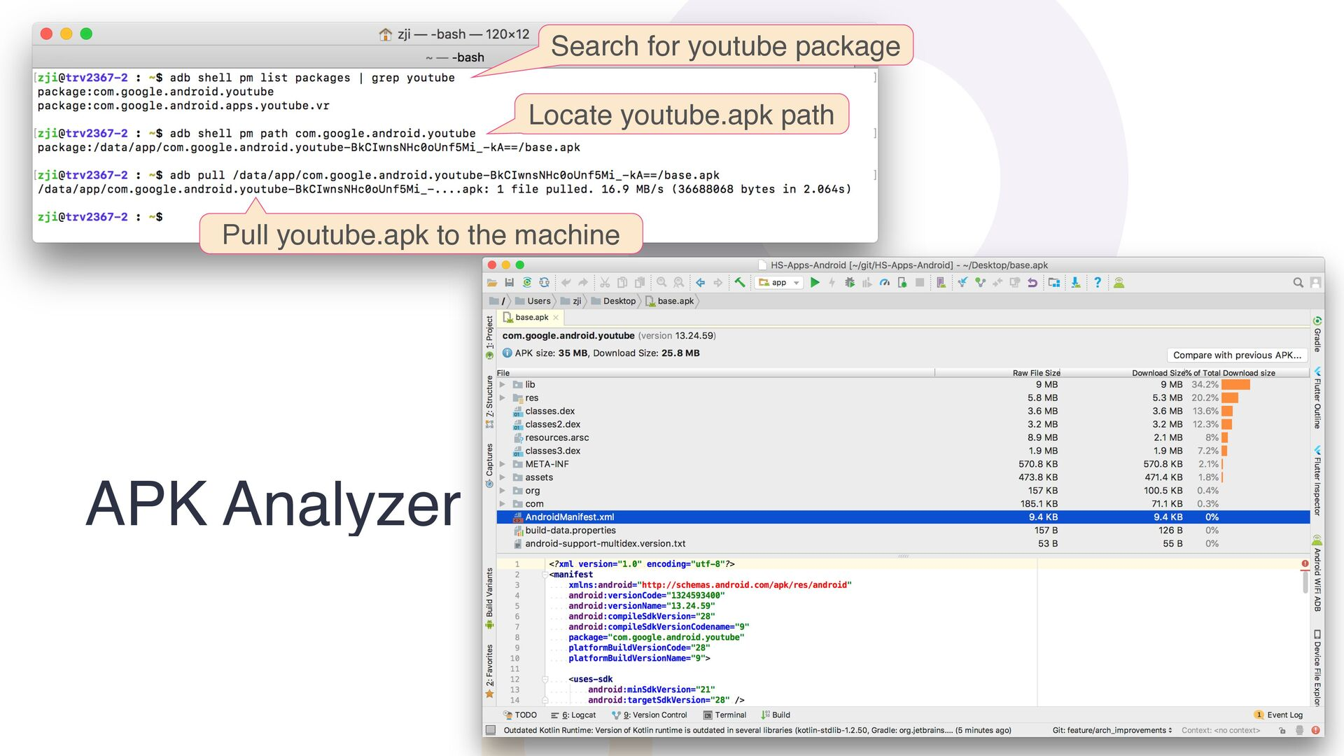 APK Analyzer Search for youtube package Locate ...