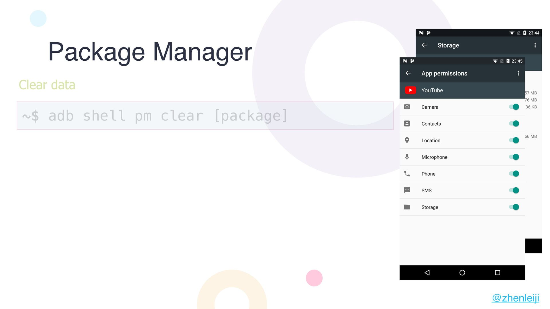Package Manager ~$ adb shell pm clear [package]...