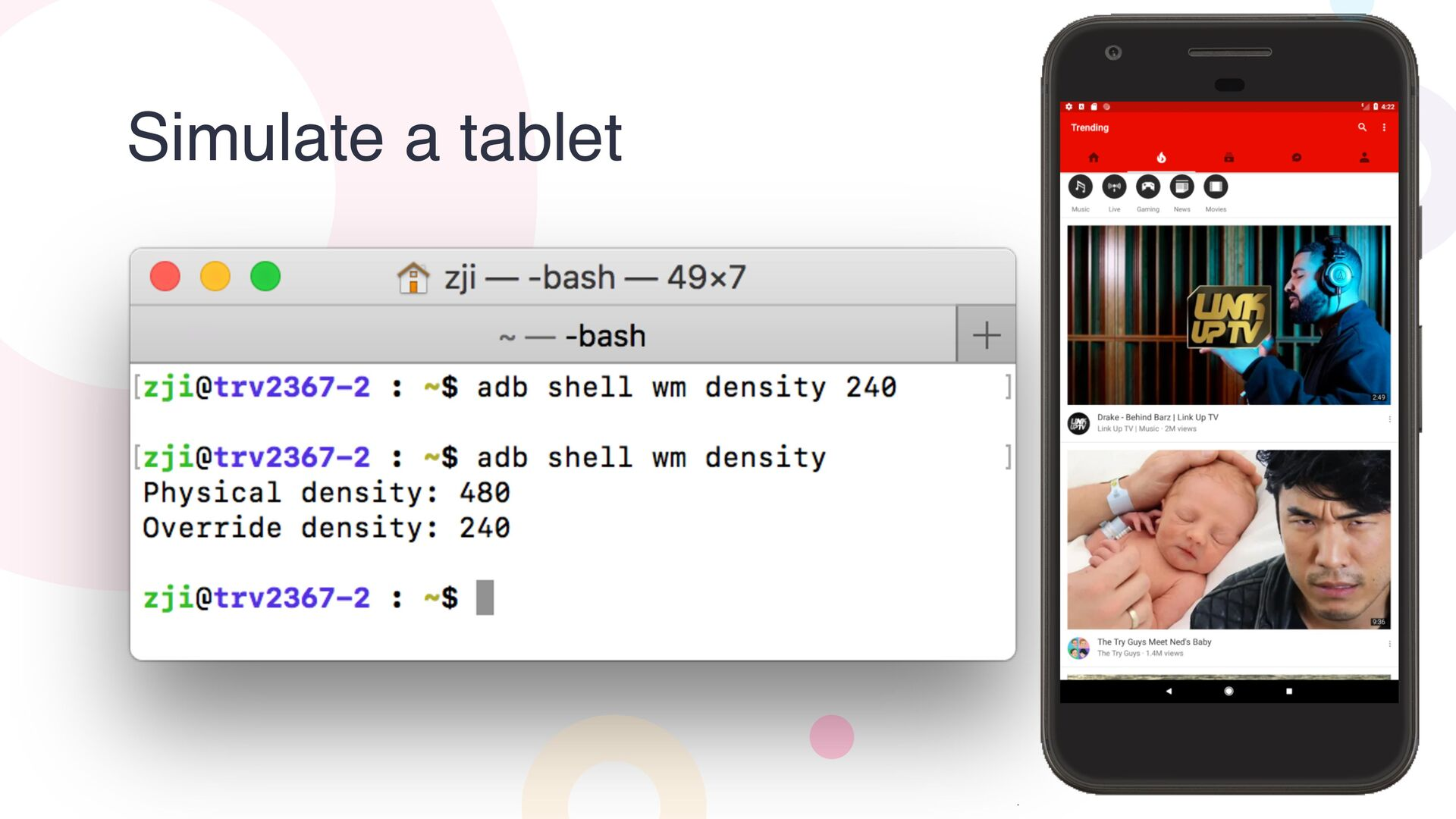 Simulate a tablet