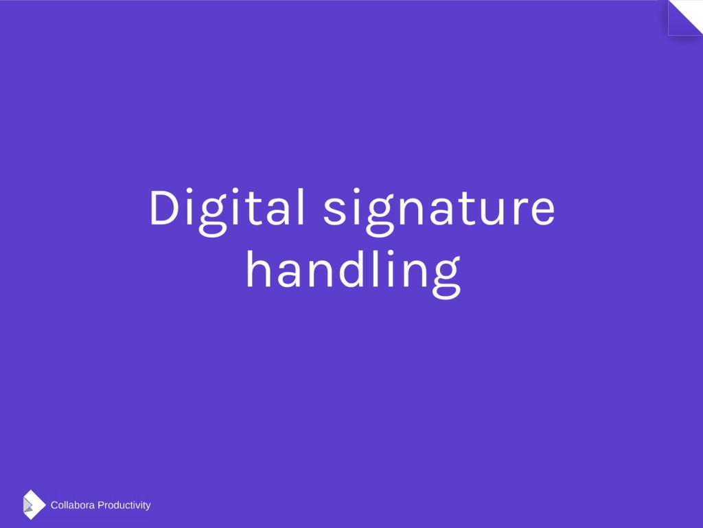 Digital signature handling
