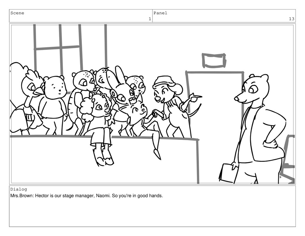Scene 1 Panel 13 Dialog Mrs.Brown: Hector is ou...