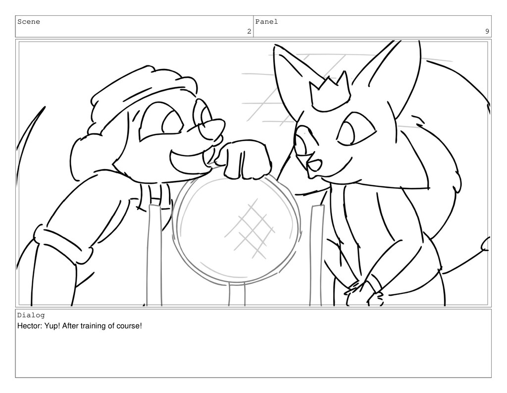 Scene 2 Panel 9 Dialog Hector: Yup! After train...
