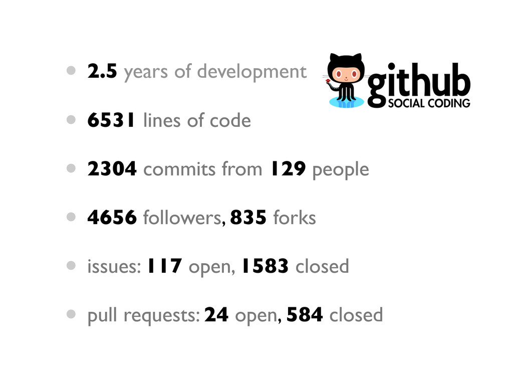 • 2.5 years of development • 6531 lines of code...