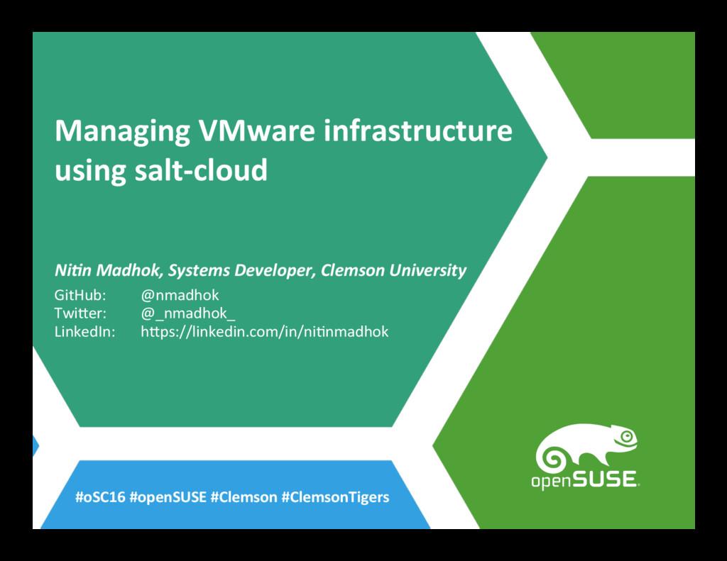Managing VMware infrastructure using salt-cloud...