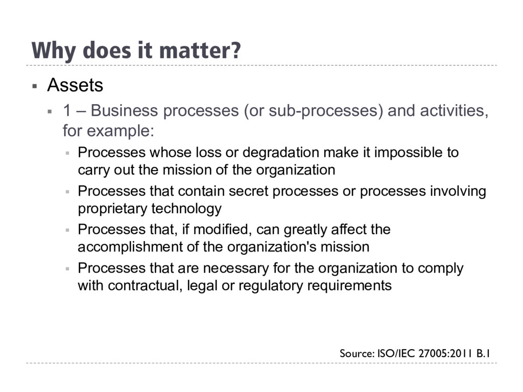 § Assets § 1 – Business processes (or sub-pro...