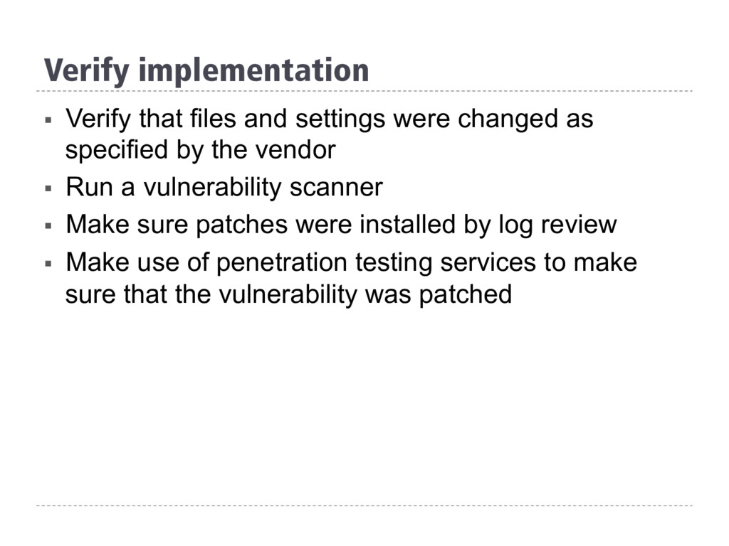 Verify implementation § Verify that files and ...