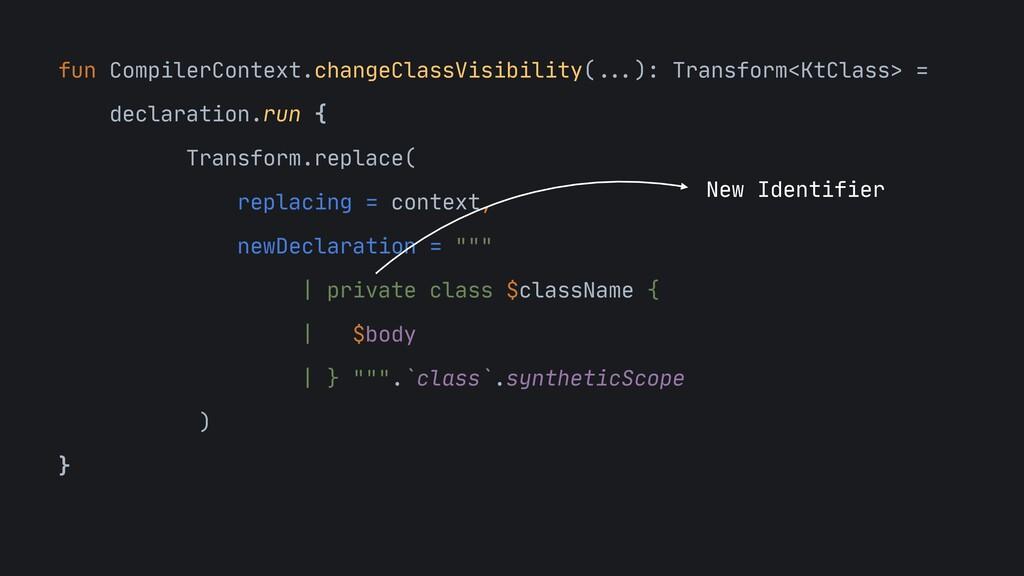 "fun CompilerContext.changeClassVisibility(""""......"