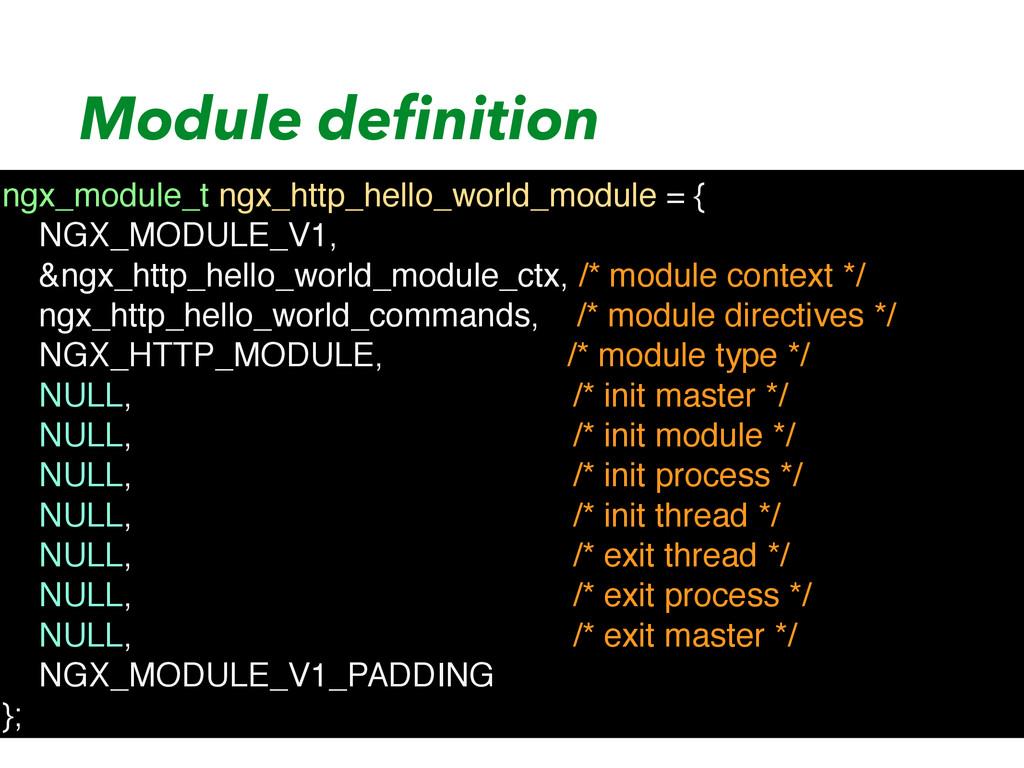 Module definition ngx_module_t ngx_http_hello_wo...