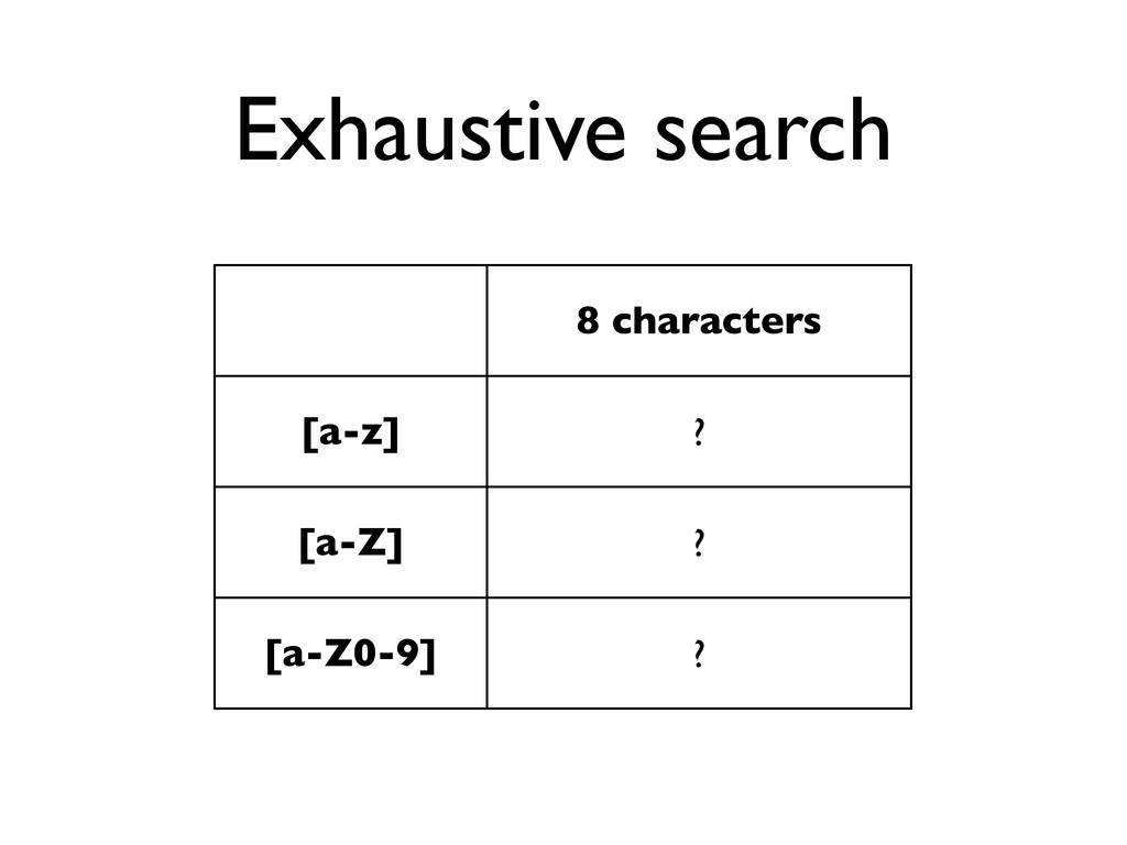 Exhaustive search 8 characters [a-z] ? [a-Z] ? ...