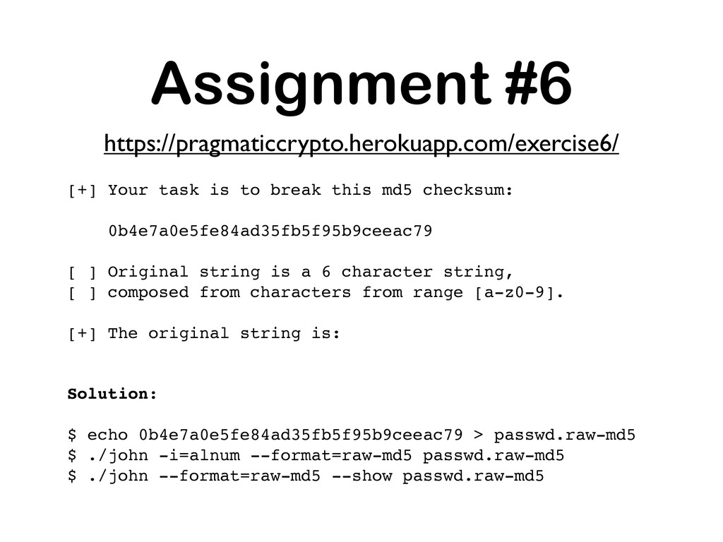 Assignment #6 [+] Your task is to break this md...