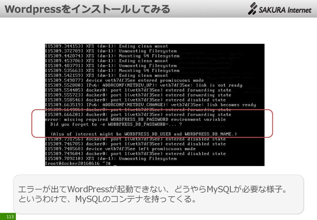 113 エラーが出てWordPressが起動できない、どうやらMySQLが必要な様子。 という...