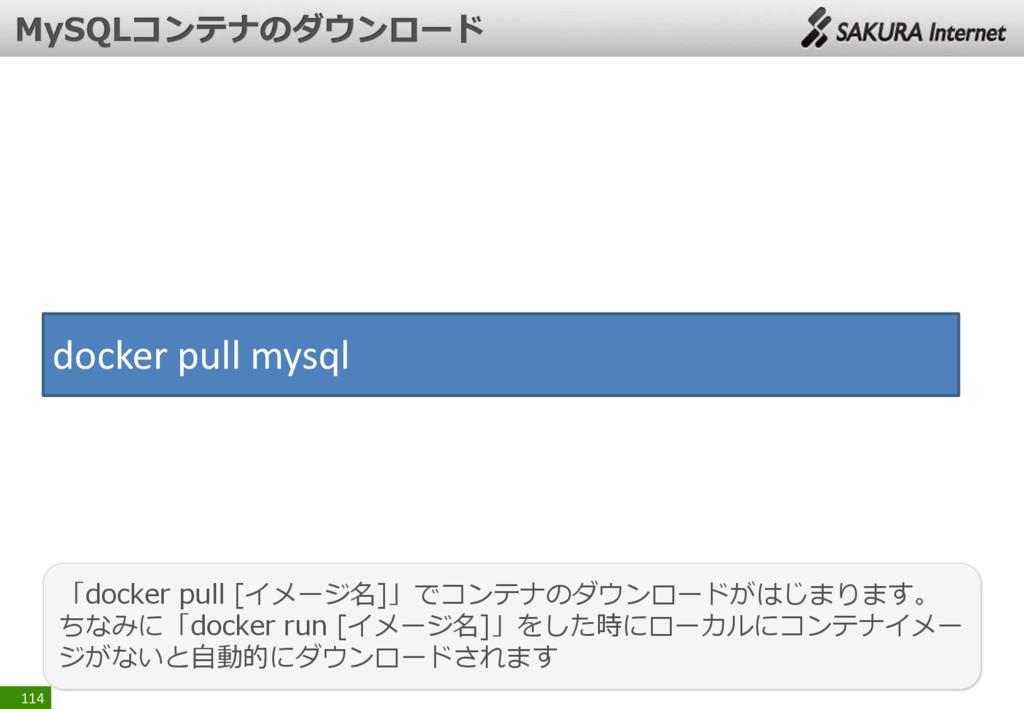 114 「docker pull [イメージ名]」でコンテナのダウンロードがはじまります。 ち...