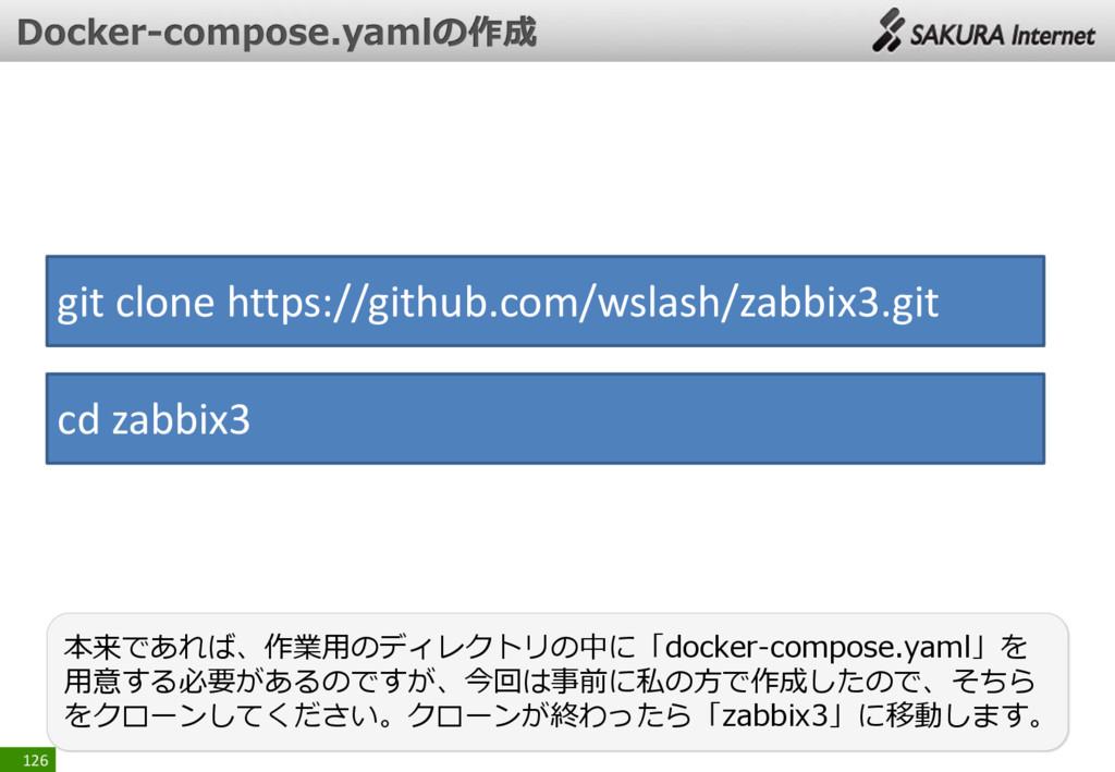 126 本来であれば、作業用のディレクトリの中に「docker-compose.yaml」を ...