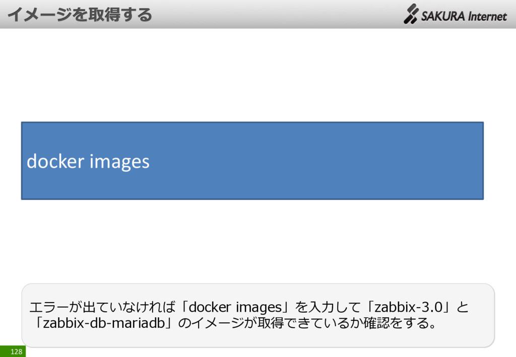 128 エラーが出ていなければ「docker images」を入力して「zabbix-3.0」...