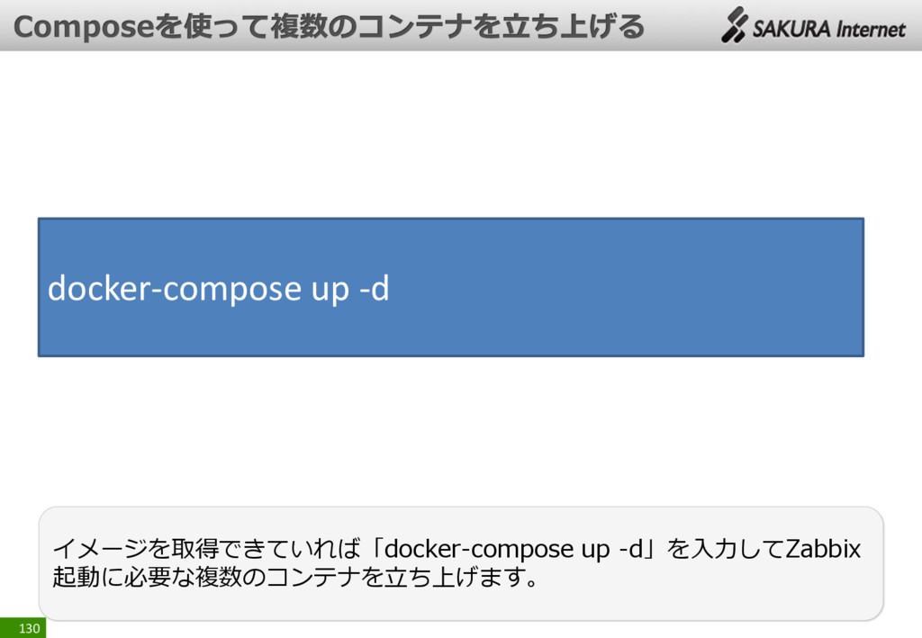 130 イメージを取得できていれば「docker-compose up -d」を入力してZab...