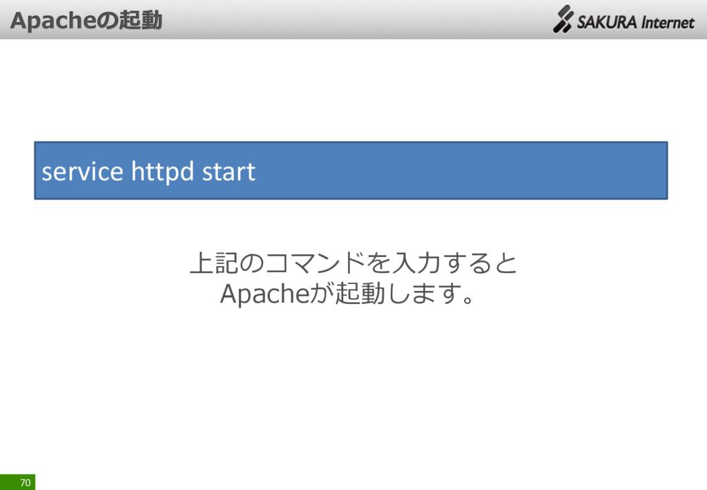 70 service httpd start 上記のコマンドを入力すると Apacheが起動し...
