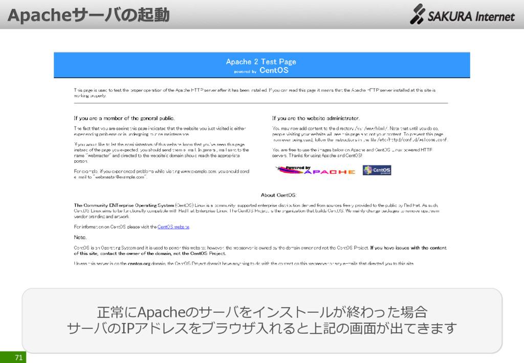 71 正常にApacheのサーバをインストールが終わった場合 サーバのIPアドレスをブラウザ入...