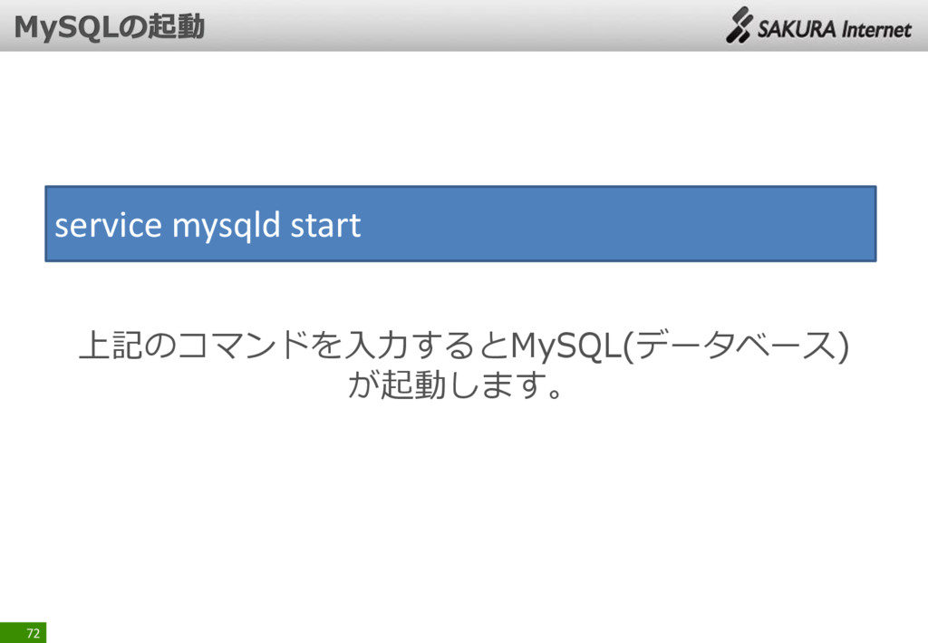 72 service mysqld start 上記のコマンドを入力するとMySQL(データベ...
