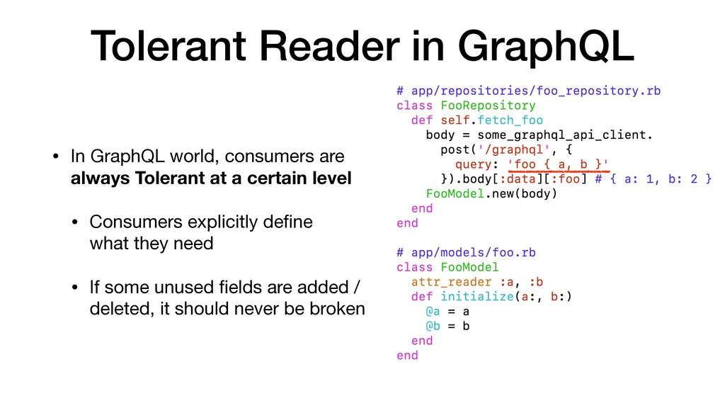 Tolerant Reader in GraphQL • In GraphQL world, ...