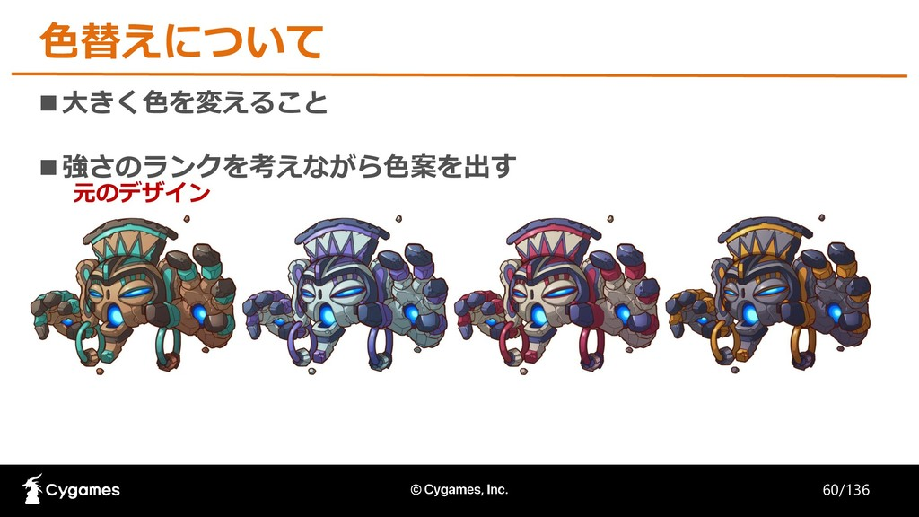 色替えについて ■大きく色を変えること ■強さのランクを考えながら色案を出す 元のデザイン 6...