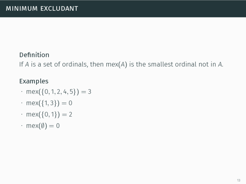 minimum excludant Definition If A is a set of or...