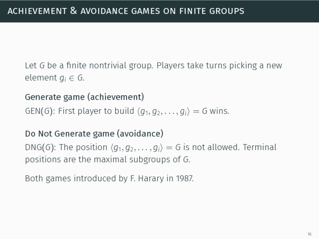 achievement & avoidance games on finite groups ...