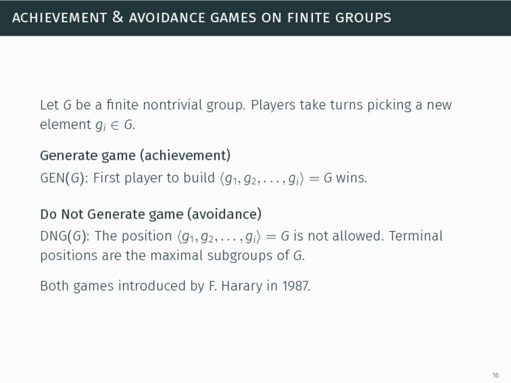 achievement & avoidance games on finite groups ...