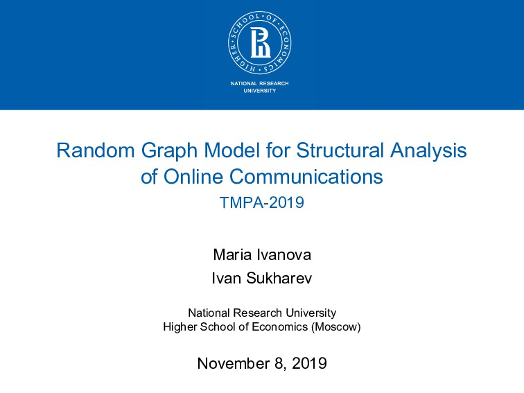 Random Graph Model for Structural Analysis of O...
