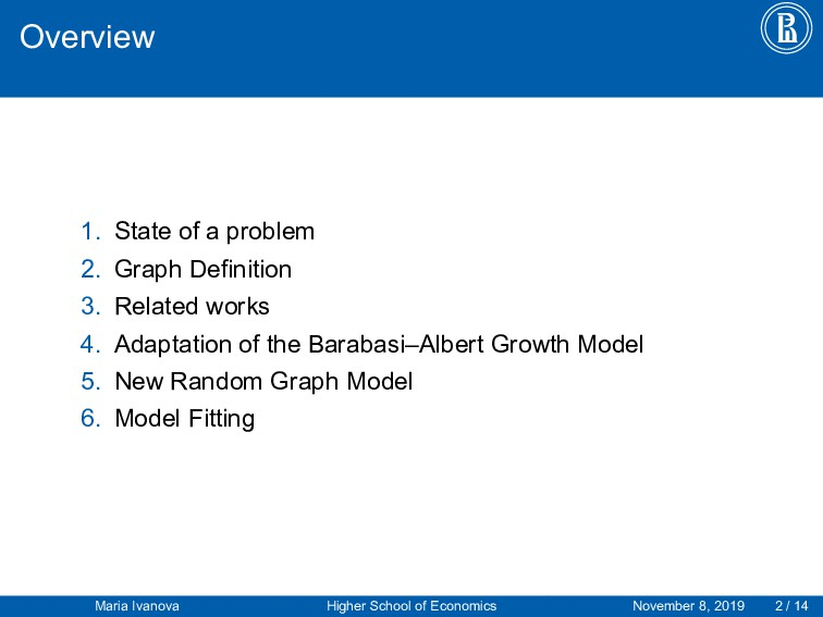 Overview 1. State of a problem 2. Graph Definit...