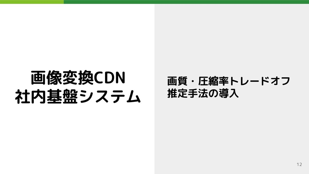 画像変換CDN 社内基盤システム 画質・圧縮率トレードオフ 推定手法の導入 12