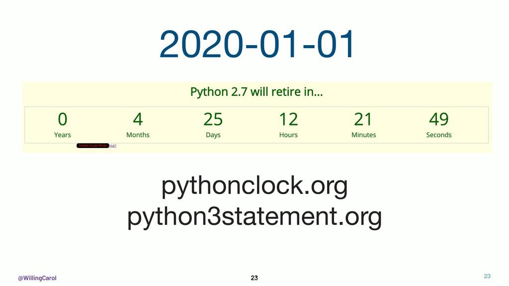 @WillingCarol 23 2020-01-01 pythonclock.org  py...