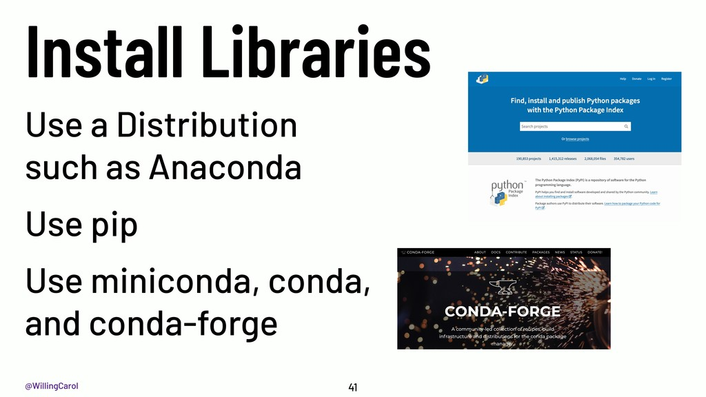 @WillingCarol Install Libraries 41 Use a Distri...