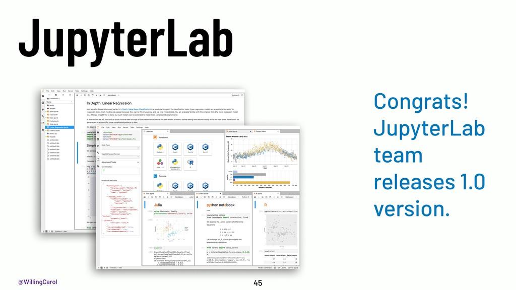 @WillingCarol JupyterLab 45 Congrats! JupyterLa...