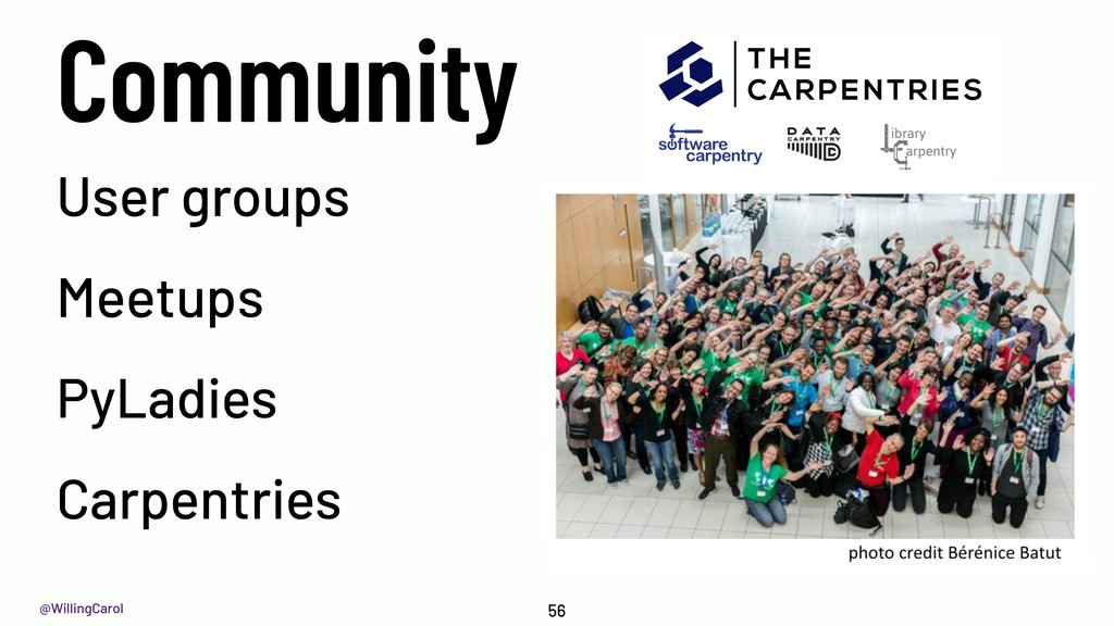 @WillingCarol Community 56 User groups Meetups ...