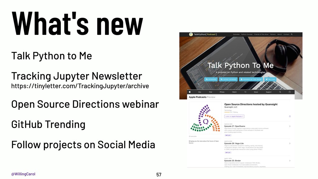 @WillingCarol What's new 57 Talk Python to Me T...