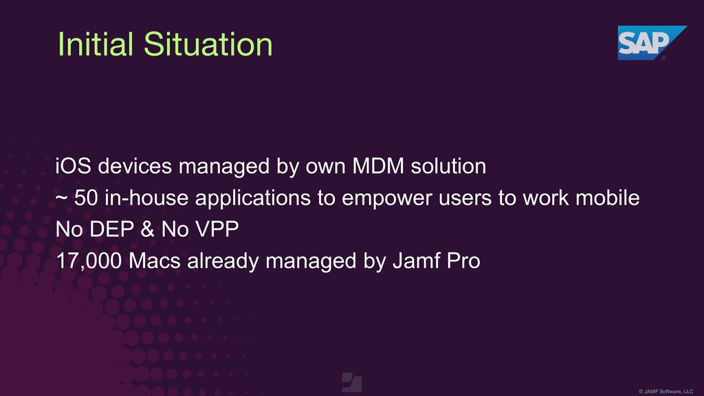 © JAMF Software, LLC Initial Situation iOS devi...