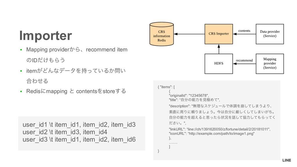 ● Mapping provider͔Βɺrecommend item ͷID͚ͩΒ͏ ● ...