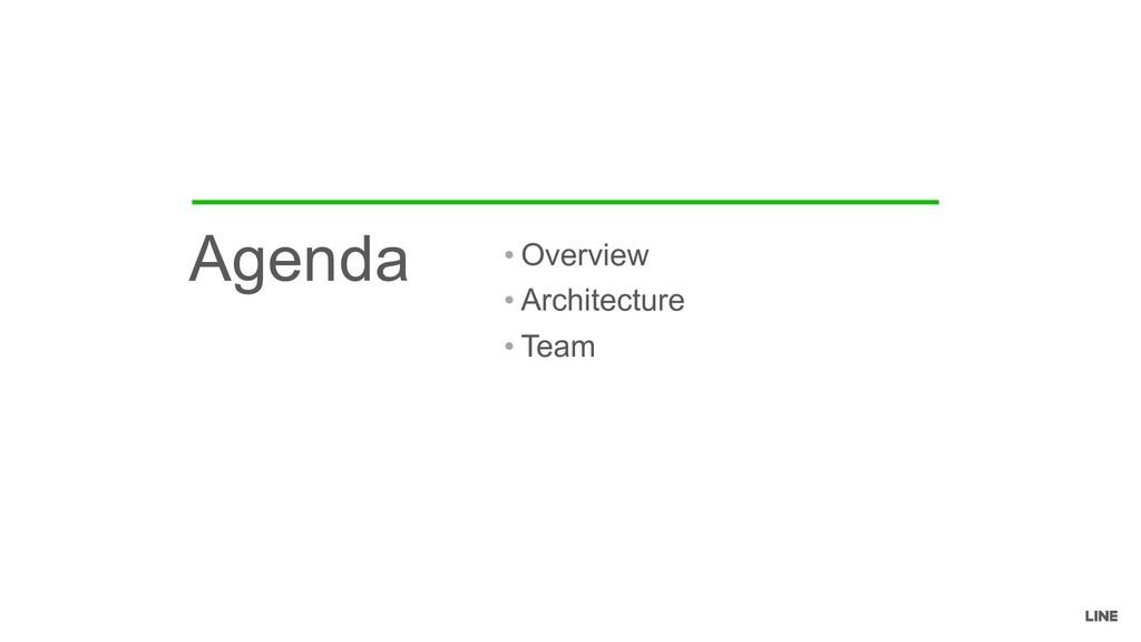• Overview • Architecture • Team Agenda