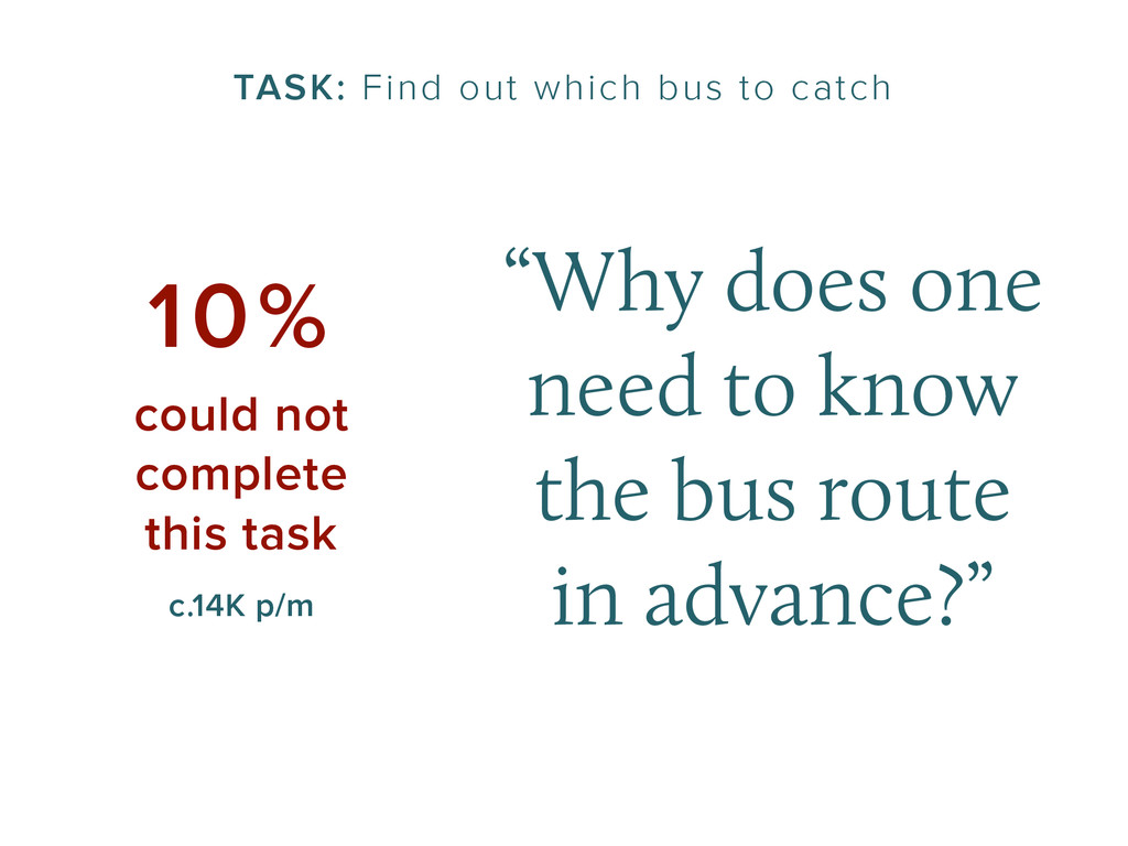 """TASK: Find out which bus to catch """"Why does one..."""