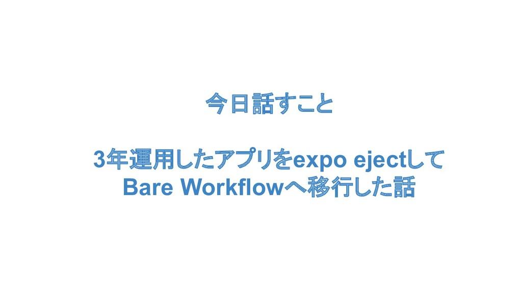 今日話すこと 3年運用したアプリをexpo ejectして Bare Workflowへ移行し...