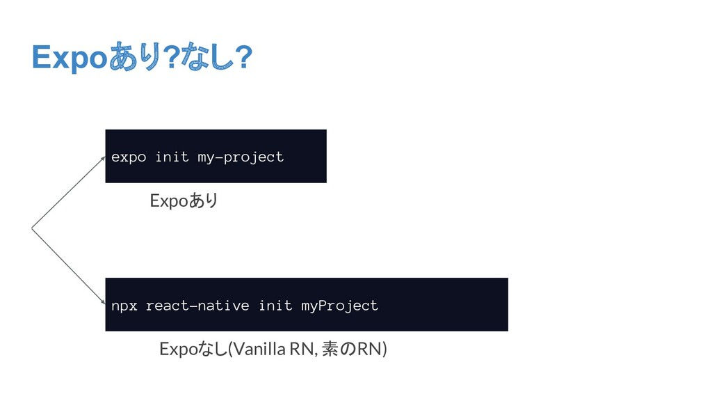 Expoあり?なし? expo init my-project npx react-nativ...