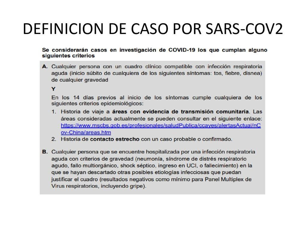 DEFINICION DE CASO POR SARS-COV2