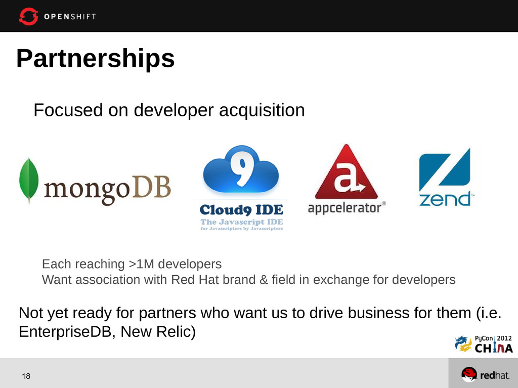 18 Partnerships Focused on developer acquisitio...