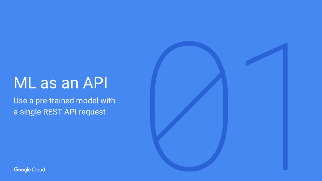 ML as an API Use a pre-trained model with a sin...