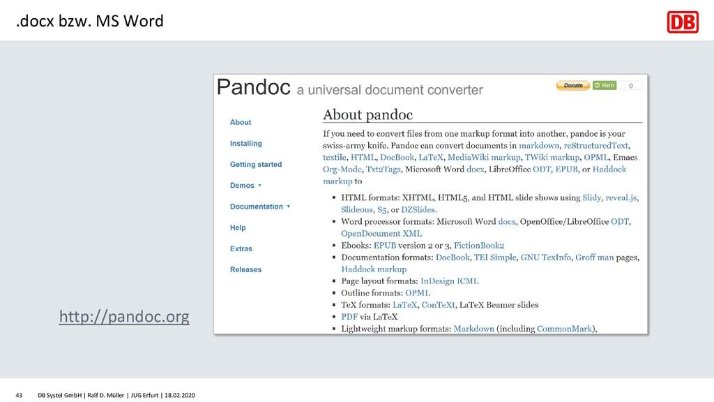 .docx bzw. MS Word http://pandoc.org DB Systel ...
