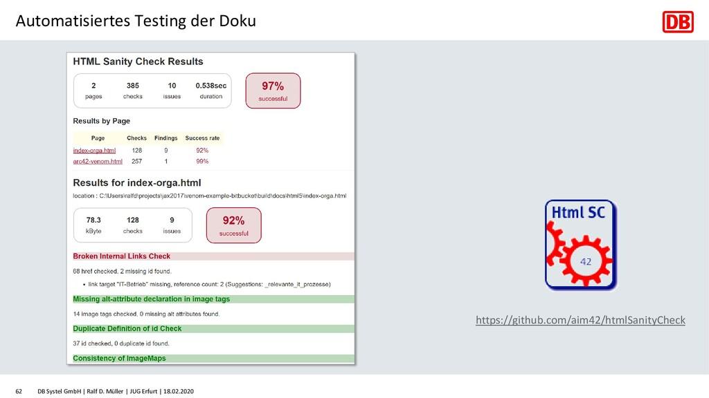 Automatisiertes Testing der Doku DB Systel GmbH...