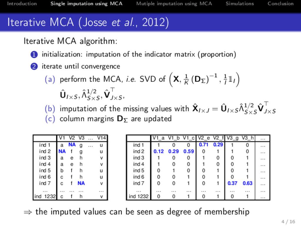 Introduction Single imputation using MCA Mutipl...
