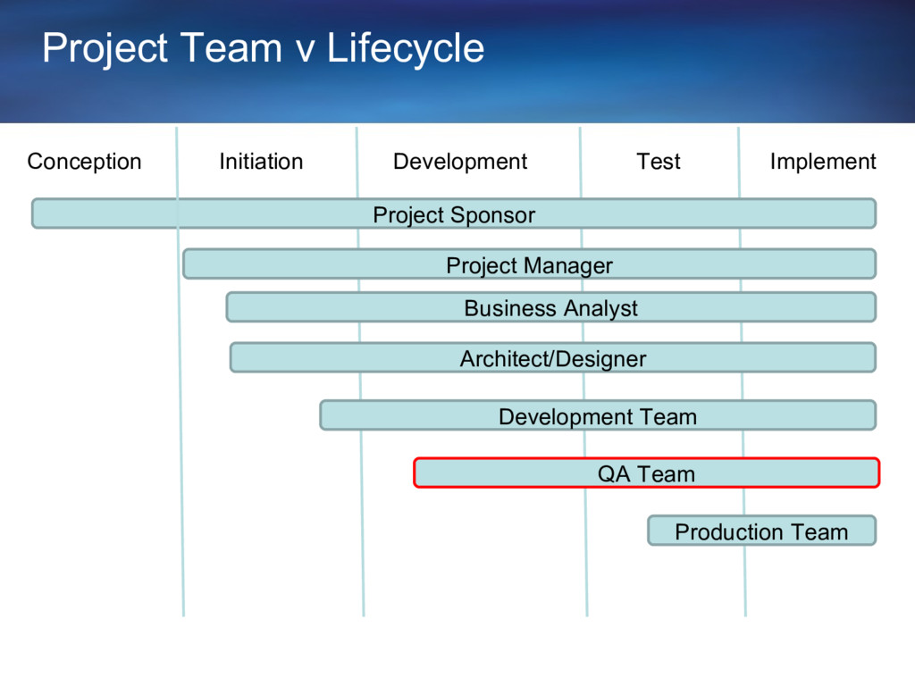 Project Team v Lifecycle Conception Initiation ...